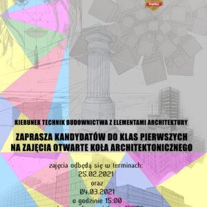 Zajęcia otwarte Koła Architektonicznego dla kandydatów do klasy 1 tech. budowlanego – 04.03.2021